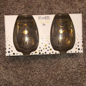 His and hers stemless wine glasses